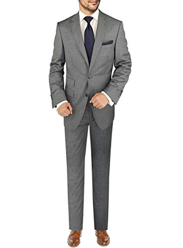 (DTI BB Signature Italian Men's Wool Suit Two Button 2 Piece Ticket Pocket Jacket (44 Regular US / 54R EU/W 38