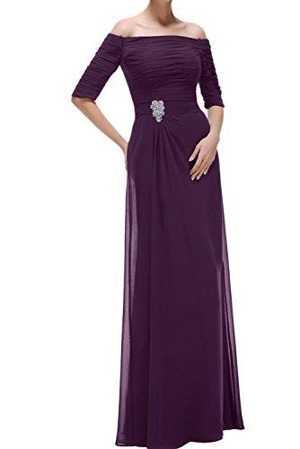 Mit Damen Festkleider Abendkleider Ausschnitt Lang Aermeln Promkleid U Ivydressing Traube Chiffon SAO7qw