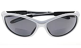 Bifocal Sports Sunglasses Baseball Running Fishing Reading Glasses For Men And Women Pearly Silver +2.5