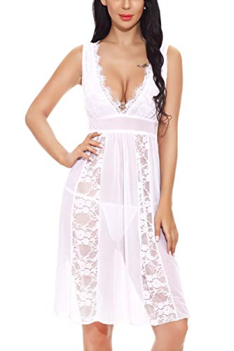- Aranmei Lingerie for Women V Neck Lace Babydoll Sheer Gown Chemise Sexy Nightgown(White,Medium)