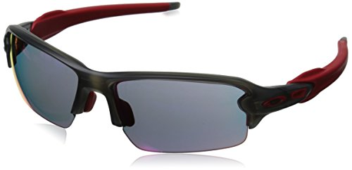 Oakley Men's OO9271 Flak 2.0 Asian Fit Rectangular Sunglasses, Matte Grey Smoke/Positive Red Iridium, 61 mm (Oakley Asian Fit Damen)