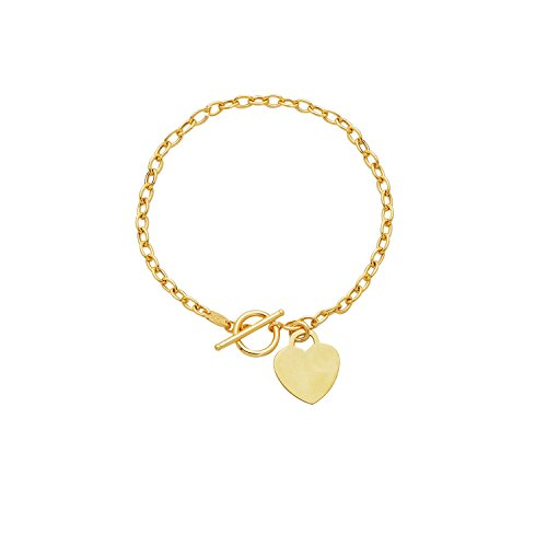 """14K 17"""" Yellow Gold Polish Diamond Cut Oval Chain Link Necklace With Heart And Toggle Lock"""