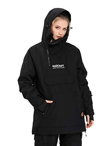 SNBOCON Womens Skisuit Jacket Winter Waterproof Warm Snowboard Outwear Insulated Winter Hooded(XL,Black)