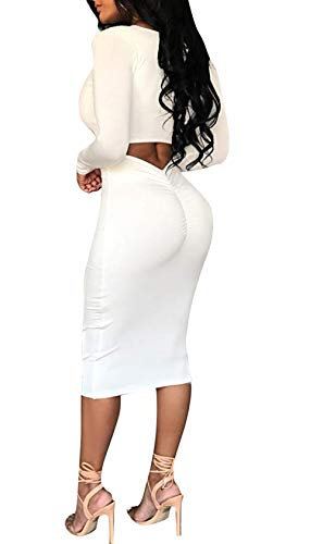 Sexy Phelion Neck Party Party Dress Manica aderente Women lunga Bianco Boat Midi qFwH8
