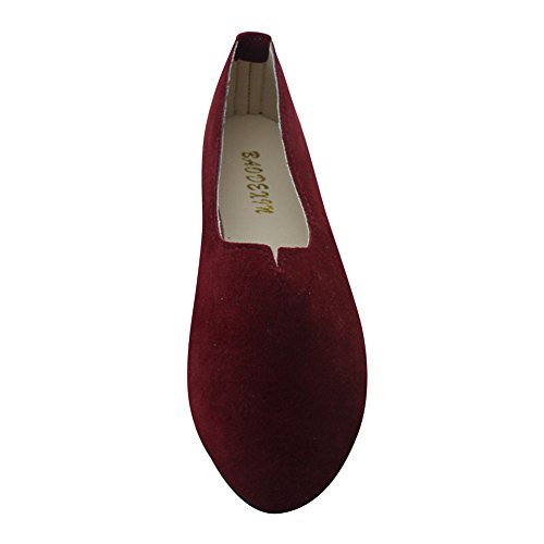 MISSMAO Ladies Womens Flats Boat Shoes Comfortable Flats Slip On Loafers Casual Candy Color Shoe Working Shoes Pregnant Woman Shoes Wine Red GGEnM476Zl