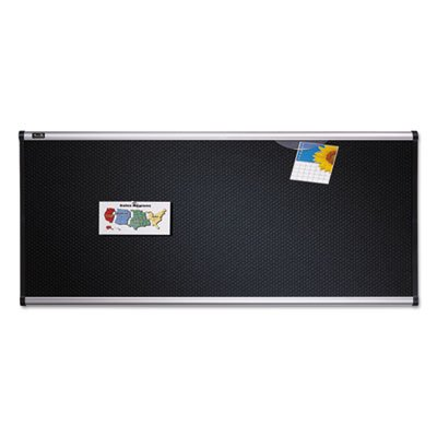 Embossed Bulletin Board, Hi-Density Foam, 48 x 36, Black, Aluminum