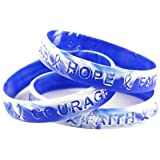 Blue and White Wave Awareness Wristband