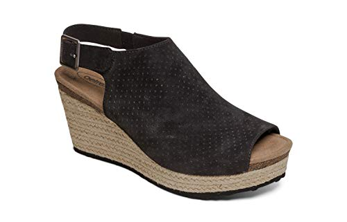 Aetrex Sherry Womens Leather Espadrille Sandal Wedges - Black - 40 (US - Aetrex Black Shoes