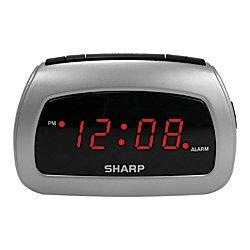 Sharp(R) Battery Backup Electric-Powered Digital Alarm Clock, 2 3/4in. x 4 1/4in. x 2in, Black/Silver