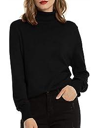 Woolen Bloom Women's Turtleneck Sweater Pullover Lightweight Long Sleeve Sweaters Tops for Women Fall Winter Casual