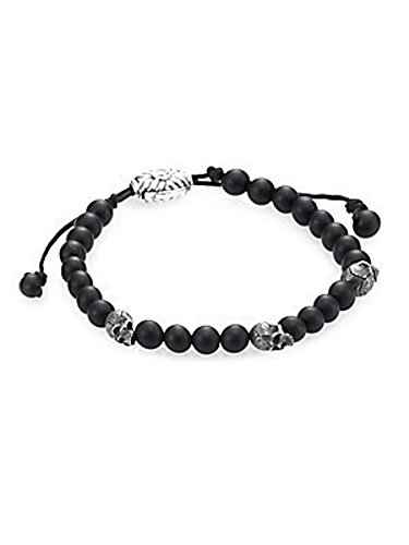 DAVID YURMAN AMAZING 6 mm WOVEN BLACK ONYX BEAD 3 SKULL BRACELET #12B by David Yurman