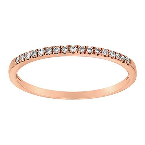 (Olivia Paris 14K Gold Vintage Bezel Set Half Eternity Round Diamond Band Ring (0.07 cttw, H-I, I1) (rose-gold, 7.5))