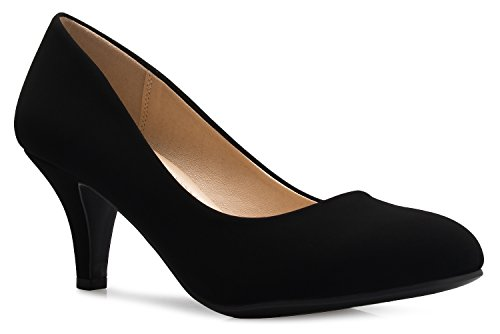 OLIVIA K Women's Comfort Classic Round Toe Kitten Low Mid Heel Dress Pumps by OLIVIA K