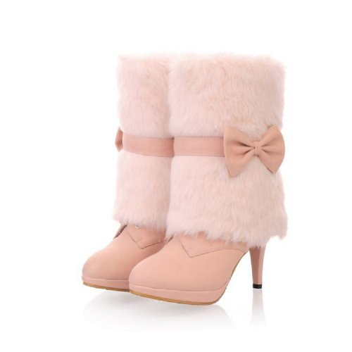 Charm Foot Fashion Faux-fur Womens Platform High Heel High Top Snow Boots Winter Boots Pink 6uJTszZWE