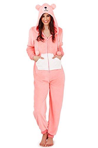 Pijama mono polar para mujer, longitud completa, con capucha Teddy Bear