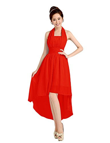 Tidetell Elegant Bridemaid Hi-low chiffon Halter Ruffle Party Evening Prom Dress Red Size 10