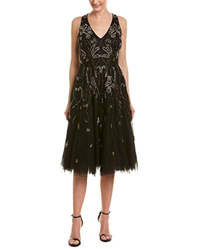 Aidan Mattox Womens Beaded Cocktail Midi Dress Black 4