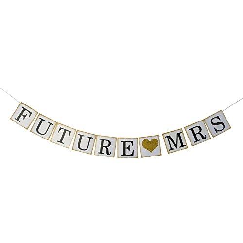 Future Mrs Banner Gold Glitter - Bridal Shower Photo Props , Bachelorette Engagement Party Decorations Favors