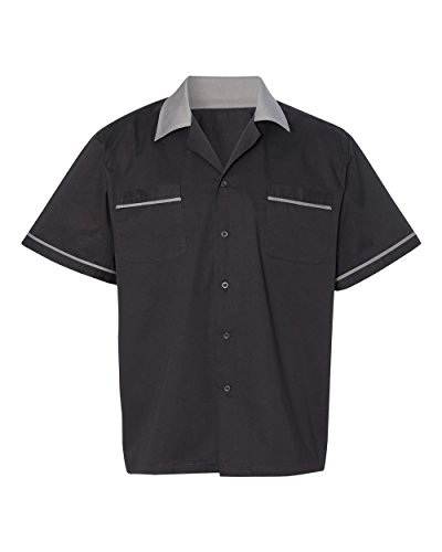 Hilton HP2244 Men's GM Legend Bowling Shirt Black/Steel Large (Classic Bowling Shirt)