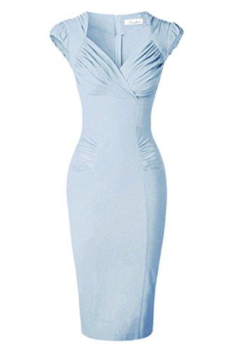 Newdow Lady's 50s Vintage V-neck Capsleeve Pencil Dress (Small, Light Blue) (Light Blue Pencil Skirt compare prices)