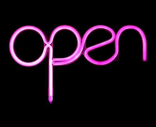 Open Sign Pink USB Powered LED Sign 15.5x8.4 inch,Long Cord 11.5 FT Girls LED Neon Open Sign Light for Pub,Bar,Beer,Café,Ice Cream Truck,Spa,Beauty or Hair Salon,Florist,Massage,Tattoo Store(OP) ()