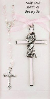 (Girl Crib Cross and Rosary set Cross is 3 1/2 inches great baptism christening gift keepsake gift)
