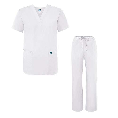 E Unisex Bianco Con Maglia Adar Set Medica Uniformi Camice Pantaloni white Uniforme f5w58x6qv