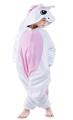 NEWCOSPLAY Childrens Pajamas Sleeping Wear Animal Onesies Cosplay Homewear (125#, Pink Unicorn) by NEWCOSPLAY (Image #3)
