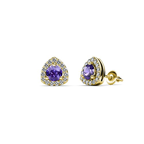 Iolite and Diamond Trillion Shape Stud Earrings 0.53 ct tw in 14K Yellow (Trillion Cut Iolite Ring)