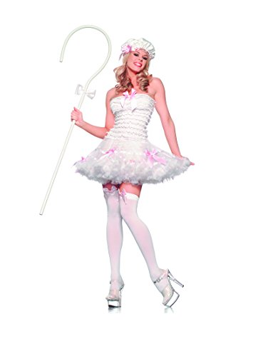 Be Wicked Costumes Women's Lil Bow Peep Costume, White, (Bo Peep Staff)