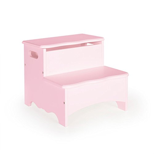 Guidecraft Classic Storage Step-Up - Pink: Toy Storage Step Stool for Kids, Children's Learning Furniture
