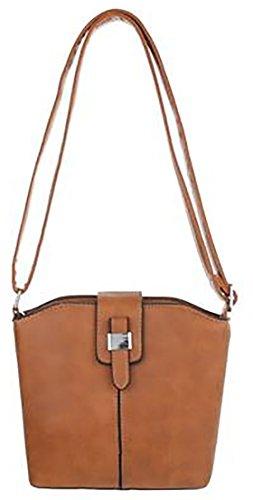 MYWY - Borsa donna con tracolla borsa modello secchiello simil pelle L cm25 H cm20 L cm8 -cuoio-Taglia unica