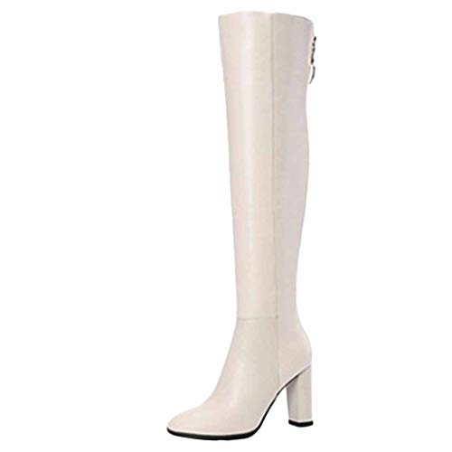 Footwear Beige Moda Cerniera Laterale Inverno Tacco Alto Autunno Utility Donna Work Al Da Stivali Ginocchio In E Pelle qxTUafUwg