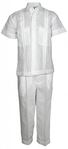 Boys Linen Guayabera Shirt (Mojito Kids Boys 100% Linen Two Pocket Guayabera Shirt and Pant Set White 06)