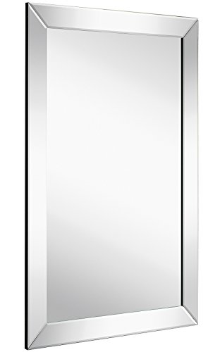"Large Flat Framed Wall Mirror with 2 Inch Edge Beveled Mirror Frame | Premium Silver Backed Glass Panel | Vanity, Bedroom, or Bathroom | Mirrored Rectangle Hangs Horizontal or Vertical (20"" x 30"")"
