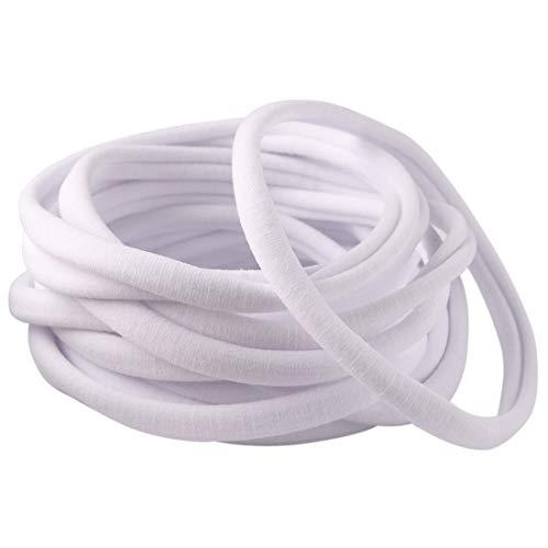 DIY Nylon Headbands for All Baby and Newborn 50 Pack Bulk Wholesale Hair Bands (White)