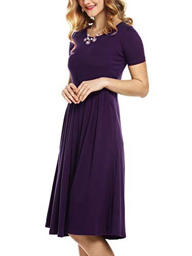 Beluring Womens Summer Dresses Casual Short Sleeve Cotton Midi Dress Dark Purple L