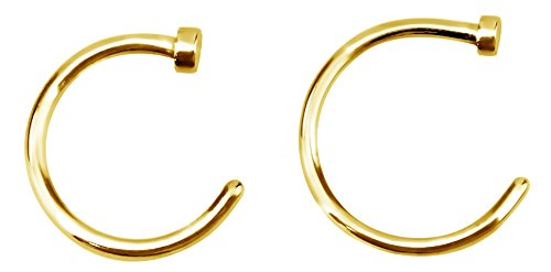Forbidden Body Jewelry 18g 8mm & 10mm Gold Tone Surgical Steel Perfect Basics Comfort Fit Nose Hoops - Hoop Body Jewelry