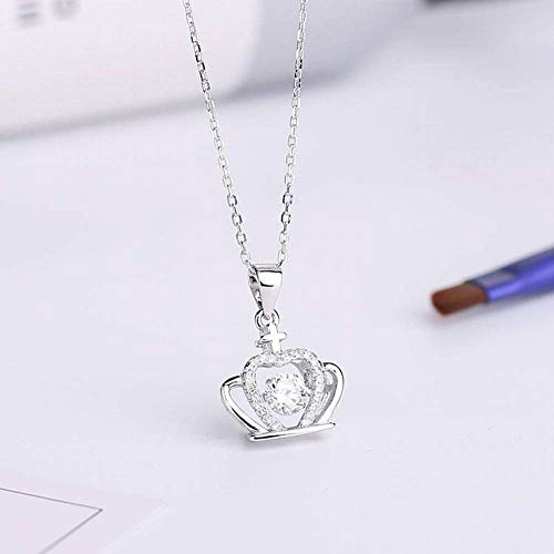 - ZOUQILAI Sterling Silver Jewelry S925 Silver Pendant Fashion Elegant Inlay Diamond Crown Necklace Women