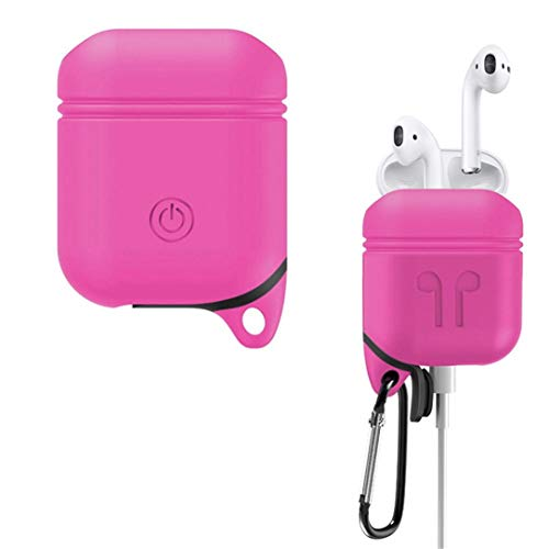 Price comparison product image for Apple AirPods,  Owill Silicone Cover Skin Case w / Carabiner Anti-Lost (Hot Pink)