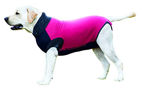 MAXX Dog Medical Pet Clothing, E Collar Alternative Recovery Suit for Dogs, Vet Approved Post-Operative Clothes, After Surgery Pet Wear, Anxiety Wrap, Wound Protection Clothes (Ruby Red Grey, XL)