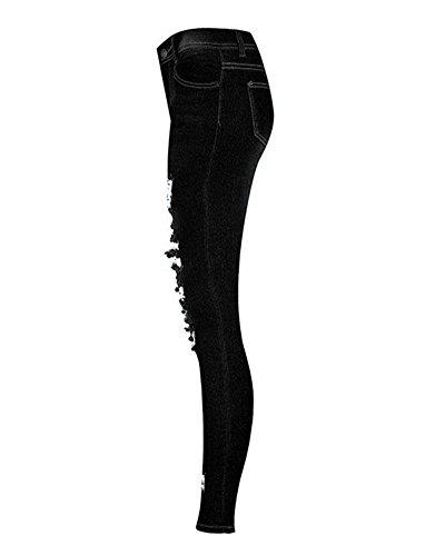 Slim Cut Pantalons Noir Knee Ripped Pantalon Femmes Crayons Jeans Haute Skinny Taille ZqPT0d