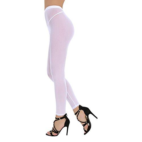 ranrann Women's Semi Opaque Stretch Tight Sheer Leggings Footless Stockings Nylon Seamless Pantyhose Long Pants White One Size
