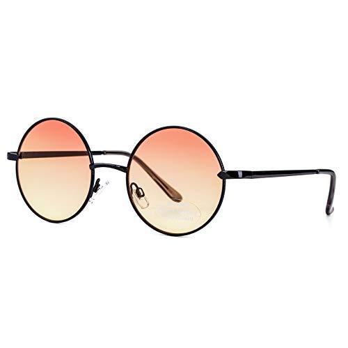 PINGLAS  Retro Round Hippie Sunglasses For Women Metal Frame Gradient Circle Lens Eyewear, 52mm , Gradient Orange  ()
