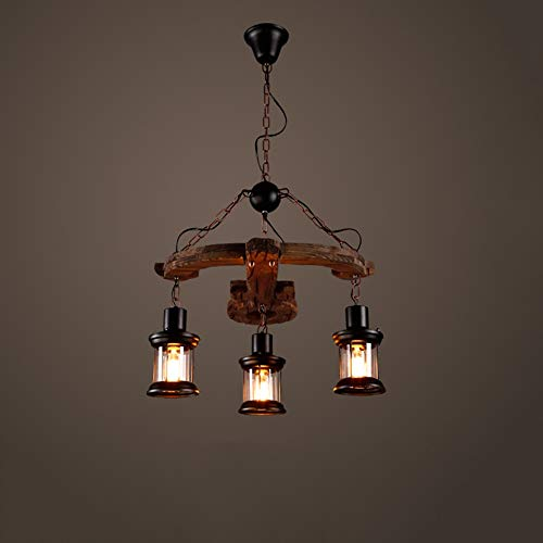 (Jtivcs 3-Light Farmhouse Distressed Wood Ceiling Chandelier American Beam Linear Kitchen Island Pendant Light Antique E27 Edison Suspension Kerosene Lamp Wine Cellar Restaurant Droplight)