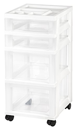 IRIS 4-Drawer Rolling Storage Cart with Organizer Top, White (Drawers Storage Rubbermaid)