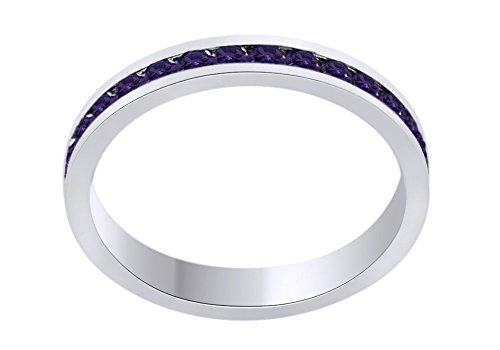 AFFY Round Shape Simulated Alexandrite Full Eternity Band Ring in 14K White Gold Over Sterling Silver, Ring Size: 7.5