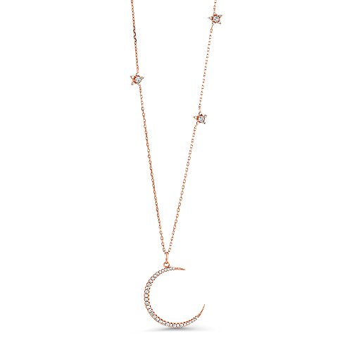 Gem Stone King Sterling Silver Half Moon and Stars Pendant Necklace with CZ Charm and Adjustable Chain Length 16 Inch - 18 Inch -