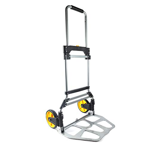 Berry Ave Foldable Hand Cart – Easy Folding Hand Truck – Aluminum Alloy Folding Dolly with Ergonomic Grips – 2 Wheeled Easy Push Moving Dolly – Easily Holds Up To 265 Lbs. – Silver ()