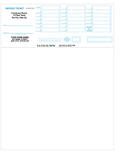 Laser Deposit Tickets for Computer Programs Including Quickbooks and Quicken (100 ()